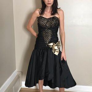 Vintage 80's Black Gold Sequin Strapless Dress